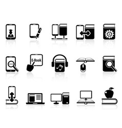 digital books and e-books icons vector image vector image