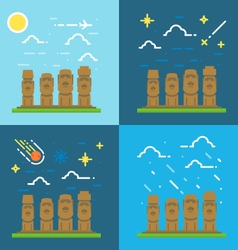 Flat design of Moai Chile vector image vector image