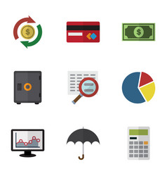 Flat icon gain set of interchange chart parasol vector