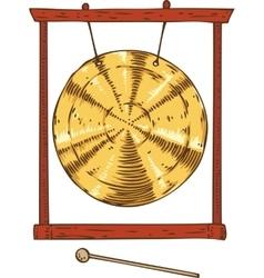 Golden gong hanging in a frame vector