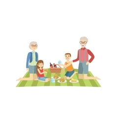 Grandparents With Kids Having Picnic vector image