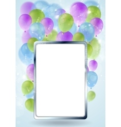 Greeting card design with silver blank frame and vector image