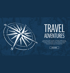 grunge banner with compass rose vector image vector image