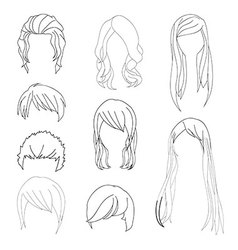 Hairstyle Man and Woman Line vector image