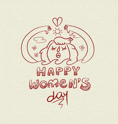 Happy international womens day nature girl doodle vector