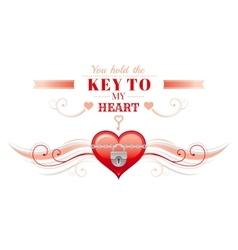 Happy valentines day borderlocked heart key vector