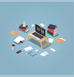 isometric learning process vector image