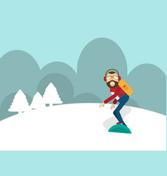 man playing snow board on mountain vector image