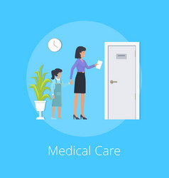 medical care colorful poster vector image vector image