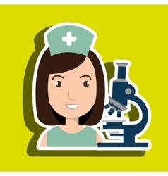 Nurse medical microscope woman vector