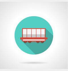 open boxcar blue round icon vector image