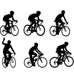 Racing bicyclists silhouettes collection vector
