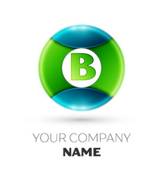 Realistic letter b logo symbol in colorful circle vector