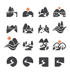 River icon set vector