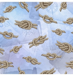 Seamless template with white ropes and marine vector image vector image