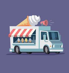 Simplified ice cream truck vector