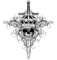 Skull in crown and sword vector