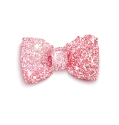 Sparkling pink glitter decorated bow for a girl vector