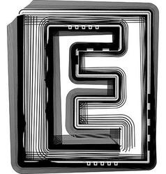 Striped font letter e vector