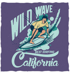Surfing t-shirt label design vector