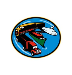 Train truck container ship and airplane travel vector image