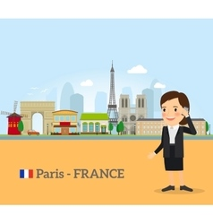 Woman talk on phone in paris vector