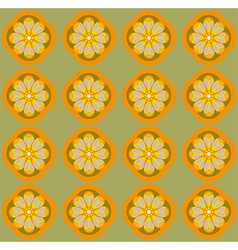 Yellow amber flowers on olive green backdrop vector