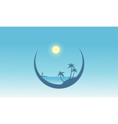 Silhouette of palm in beach scenery vector image