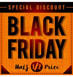 Black friday sale banner on patterned orange backg vector