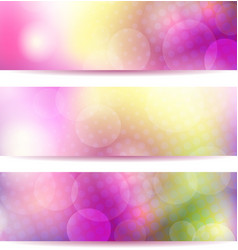 Abstract pink banner set vector