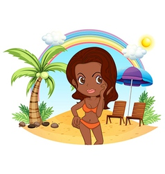 A tan lady in an orange bikini at the beach vector