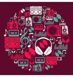 Dj music icons circle vector