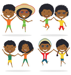 Cute african-american couples jumping outdoor vector