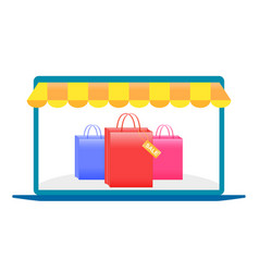 online shopping laptop shopping with a laptop vector image