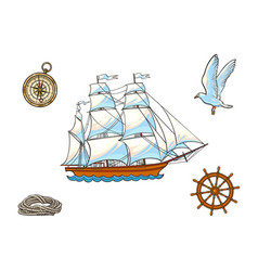 Ship compass seagull rope and steering wheel vector