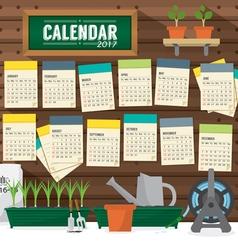 2017 Calendar Starts Sunday Gardening Concept vector image