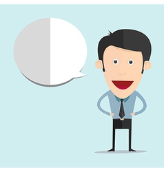 Cartoon with blank bubble in flat style vector