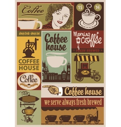 Coffee retro set vector