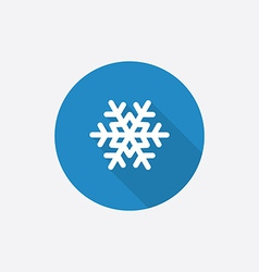 Snowflake flat blue simple icon with long shadow vector