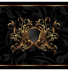 Golden ornate frame with shield vector