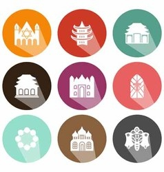 Solid icons houses of worship shadow vector