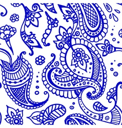 Blue line paisley seamless pattern hand drawn vector
