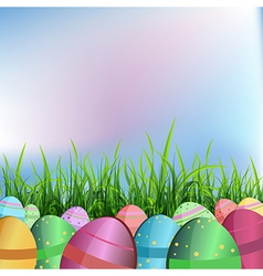 Easter eggs in lawn vector