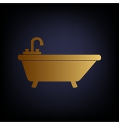 Bathtub sign golden style icon vector
