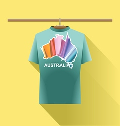 Aqua shirt with colored australia logo country vector image