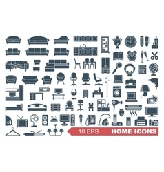 Icons of furniture and household appliances vector