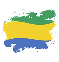 Gabon flag grunge style on white background Brush vector image