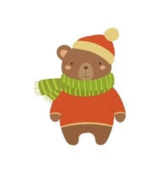 Brown bear in red sweater childish vector