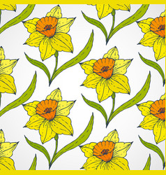 daffodil seamless patterns vector image