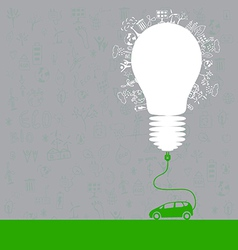 electric car design light bulb with socket vector image vector image